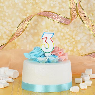 506-168 Свеча для торта в форме цифры 3, парафин, Капитан Весельчак