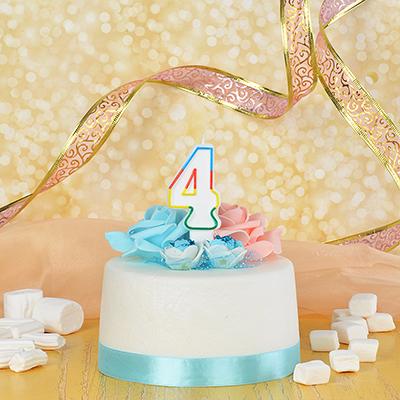 506-169 Свеча для торта в форме цифры 4,парафин, Капитан Весельчак
