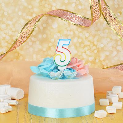 506-170 Свеча для торта в форме цифры 5, парафин, Капитан Весельчак