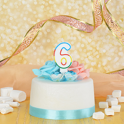 506-171 Свеча для торта в форме цифры 6, парафин, Капитан Весельчак