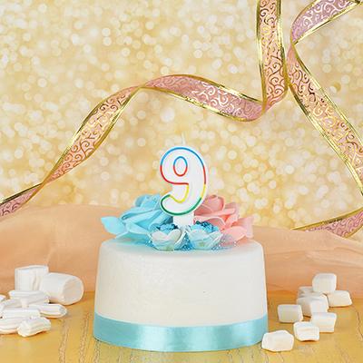 506-174 Капитан Весельчак Свеча для торта в форме цифры 9, парафин