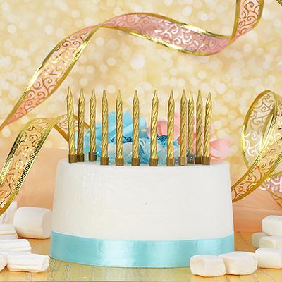 506-189 Набор свечей с подставками 12 шт, парафин, Капитан Весельчак, 2 цвета