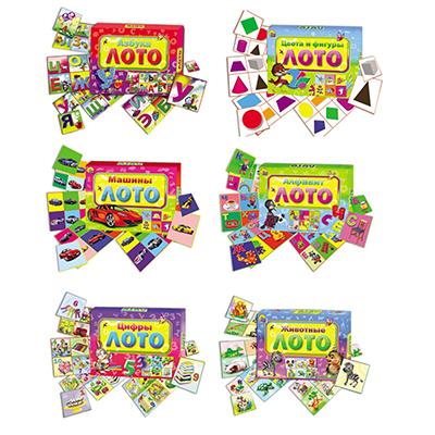 896-035 РЫЖИЙ КОТ Лото обучающее, 12 карточек, картон, бумага, 19х14х4см , 6 дизайнов