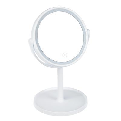 347-081 Зеркало настольное с LED-подсветкой, 17х30 см, 4хААА, пластик, стекло, USB-провод
