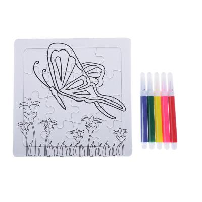 "285-143 Пазл-раскраска ""Малыш"" с фломастерами, картон, пластик, 13,5х13,5х2см, 10-12 дизайнов"