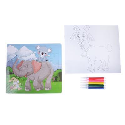 285-144 Пазл + набор раскрасок, 5 фломастеров в комплекте, картон, 17х19х1см, 6-12 дизайнов