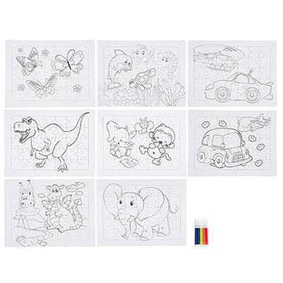 285-145 Пазл-раскраска + 5 фломастеров в комплекте, картон, 21х28х2см, 3-8 дизайнов