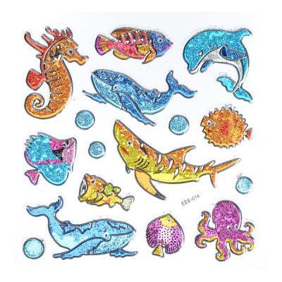 283-086 Набор 3D объемных декоративных наклеек с блестками, 21х15,5см, 6-12 дизайнов