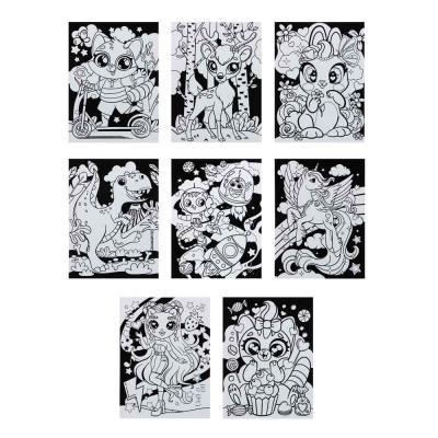 284-235 Раскраска бархатная антистресс, бумага, 21х28см, 6 фломастеров, 8 дизайнов GC