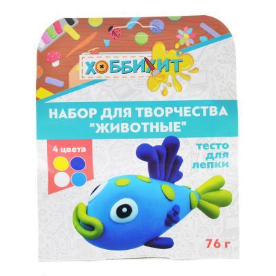 """289-126 ХОББИХИТ Набор для творчества """"Животные"""", тесто для лепки 76г, 4 дизайна"""