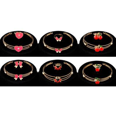 349-527 BERIOTTIНабор 3пр.:подвеска на цепи 45см, браслет,кольцо, биж.сплав, 6 дизайнов, 7+, БЖ18-01