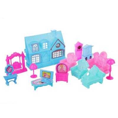 278-093 ИГРОЛЕНД Набор игровой домик с мебелью, 15-19 пр., пластик, 30,5х45х5см, 2 дизайна