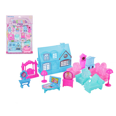 278-093 Набор игровой домик с мебелью, 15-19 пр., пластик, 30,5х45х5см, 2 дизайна