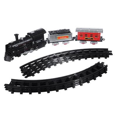 292-132 ИГРОЛЕНД Поезд с рельсами на батарейках с дымом, пластик 2АА, 55х19х9,5см, 4 дизайна