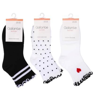 312-444 Носки женские с декором, 85%хлопок, 15%полиамид, пластик, 22-26см, 4 цвета