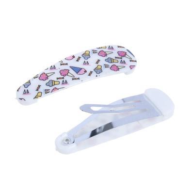 321-275 Набор зажимов для волос 2шт., пластик, сплав, 5 см, 6 цветов