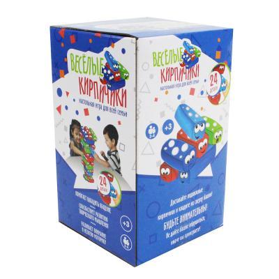 """896-038 Настольная игра """"Весёлые кирпичики"""", 24 детали, пластик, 16х10х10см картонная коробка, 3+"""