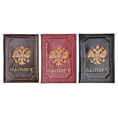 334-105 PAVO Обложка для паспорта 13,7х9,5см, искусст.кожа, 2-3 цвета, ОД19-56