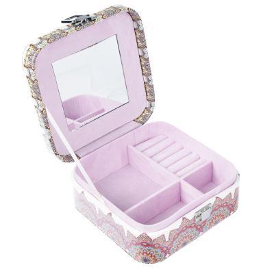 504-549 Шкатулка для украшений с отделениями и зеркалом 15х15х6,5 см, полиэстер, 2 дизайна