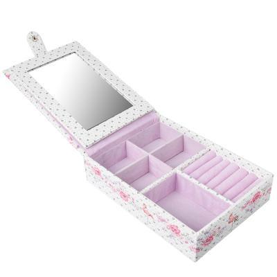 504-550 Шкатулка для украшений с отделениями и зеркалом полиэстер, 21,5х15х5,5 см