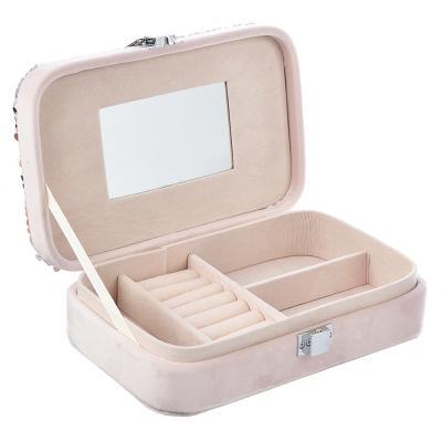 504-561 Шкатулка для украшений с отделениями и зеркалом 12х19х4,5 см, полиэстер, 2 цвета