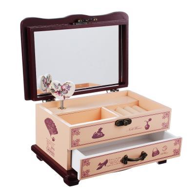 504-562 Шкатулка музыкальная для украшений с отделениями и зеркалом 20х13х11 см, МДФ