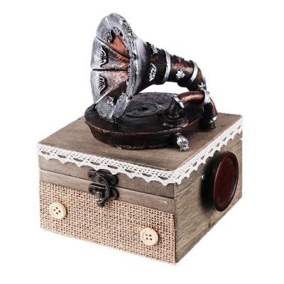 504-573 Шкатулка музыкальная 11х11х15 см, МДФ, полистоун