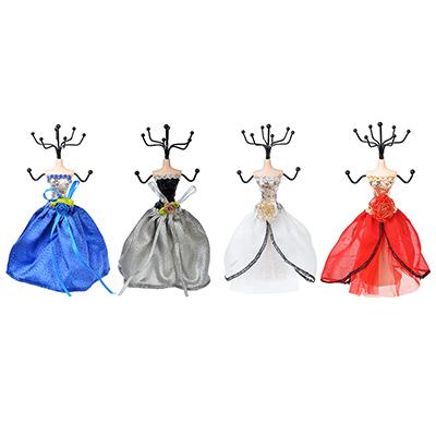 504-584 Подставка для ювелирных украшений в виде платья, 17 см, металл, полиэстер, 4 цвета