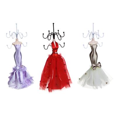 504-585 Подставка для ювелирных украшений в виде платья, 22 см, металл, полиэстер, 3 цвета