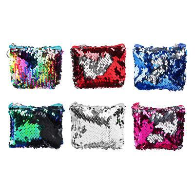 333-134 PAVO Сумочка для мелочи с пайетками, полиэстер, пластик, 11х8х3см, 6 цветов