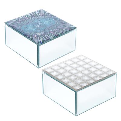 504-590 Шкатулка стеклянная 12х12х6,5 см, 2 цвета