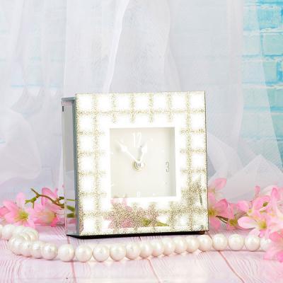 529-168 Часы настольные стеклянные, 14х14х3,5 см, 2 цвета, 1хАА