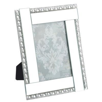 520-518 Фоторамка 16х20,5 (10х15) см, стекло, зеркальная с жемчужинами