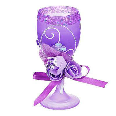 508-552 Свеча в стеклянном бокале с декором, фиолетовая, парафин, 16х8,5х8,5 см