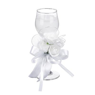508-553 Свеча в стеклянном бокале с декором, парафин, 16х8,5х8,5 см, белая