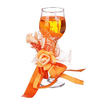 508-554 Свеча в стеклянном бокале с декором, парафин, 16х8,5х8,5 см, красно-оранжевая