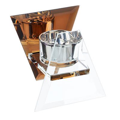 477-021 Подсвечник зеркальный треугольник, стекло, 10х10х8 см