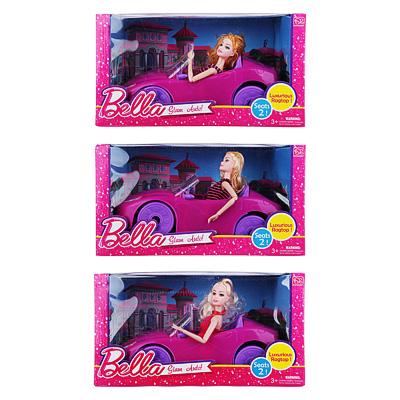 267-772 Кукла 29см в кабриолете, пластик, полиэстер, 36х24х9см