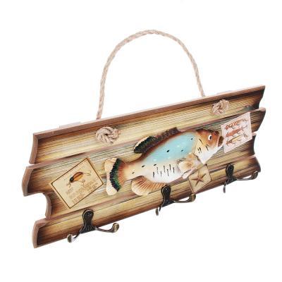 510-125 Ключница с изображением рыбы, три двойных крючка, МДФ, 30х12 см