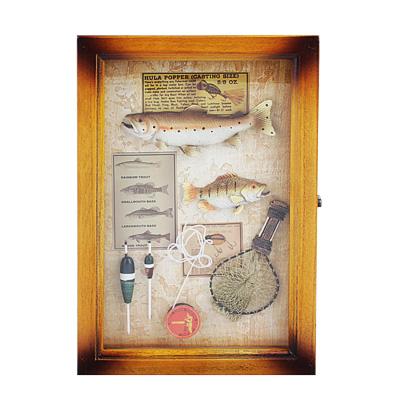 """510-127 Ключница """"Рыболов"""", 6 крючков, МДФ, стекло, 29х19,5х7см"""