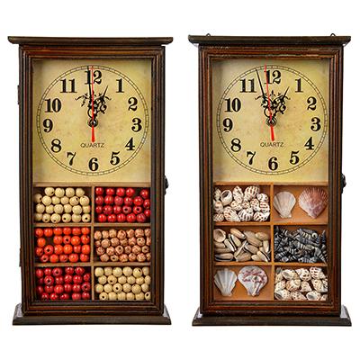 510-131 Ключница с часами, 1хАА, коричневая, 9 крючков, МДФ, 20,5х36,5х7,5 см,2 дизайна