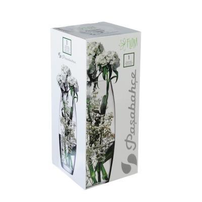 """502-699 PASABAHCE Ваза стеклянная, ручная роспись, """"Листья"""", 25х9 см, 2 дизайна"""