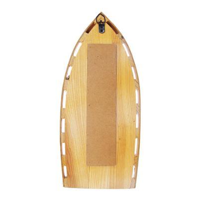 597-153 Декор настенный в виде лодки, с термометром, дерево, 31х13,7 см, 2 вида