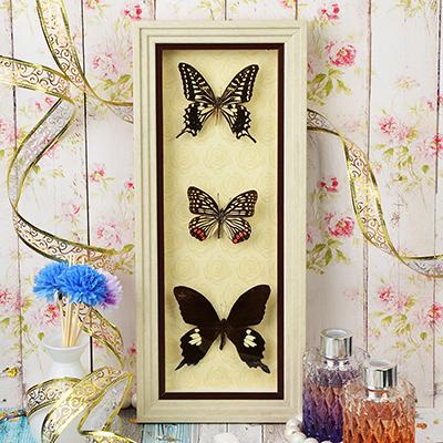 597-166 Панно с бабочками, стекло, МДФ, 38х16 см