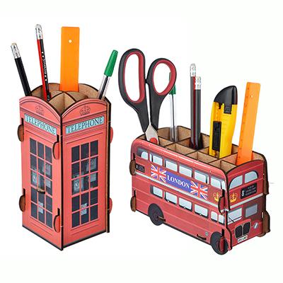 """595-008 ClipStudio Подставка для ручек и карандашей сборная, """"Автобус"""" ,""""Телефонная будка"""", дерево"""