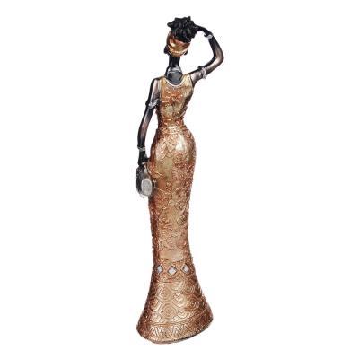 509-782 Статуэтка в виде африканки, 25х5х6,5 см, полистоун, 4 вида