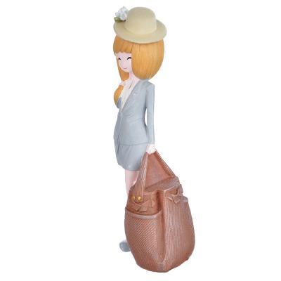 509-784 Статуэтка девушка в шляпке, 27х8,5 см, полистоун , 4 вида