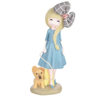 509-785 Статуэтка девушка с собачкой, 17,5х6 см, полистоун, 4 вида