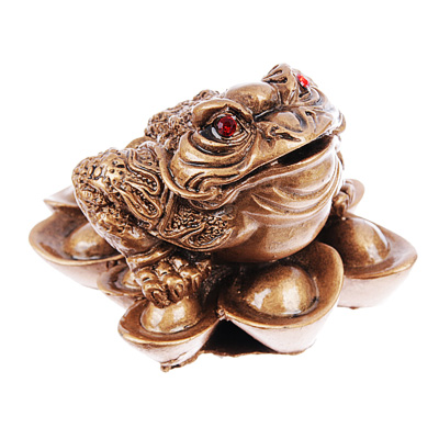 509-793 Фигурка в виде жабы с монетой, 8х7х5,5 см, полистоун