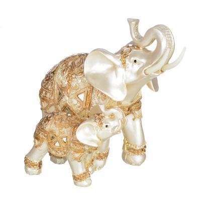 509-798 Фигурка в виде двух слонов, 13х8,5х15 см, полистоун, 2 вида